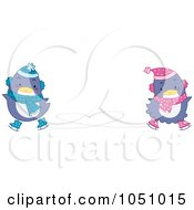 Royalty Free Vector Clip Art Illustration Of Valentine Penguins Ice Skating by BNP Design Studio