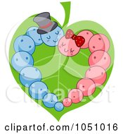 Royalty Free Vector Clip Art Illustration Of Pink And Blue Caterpillars Forming A Heart On A Leaf