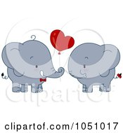 Royalty Free Vector Clip Art Illustration Of A Valentine Elephant Couple With A Heart Balloon