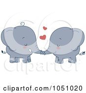 Royalty Free Vector Clip Art Illustration Of A Valentine Elephant Couple Holding Trunks