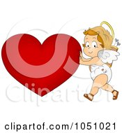 Royalty Free Vector Clip Art Illustration Of A Valentine Cupid Pushing A Heart by BNP Design Studio