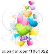 Royalty Free Vector Clip Art Illustration Of Colorful Heart Valentine Balloons by BNP Design Studio