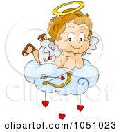 Royalty Free Vector Clip Art Illustration Of A Valentine Cupid Resting On A Cloud by BNP Design Studio