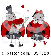 Royalty Free Vector Clip Art Illustration Of A Ladybug Giving Roses To His Valentine
