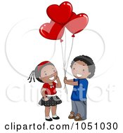 Royalty Free Vector Clip Art Illustration Of A Black Boy Giving Heart Balloons To A Girl