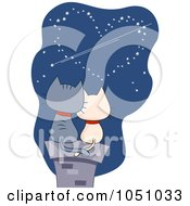 Royalty Free Vector Clip Art Illustration Of A Valentine Cat Couple Viewing A Heart In A Night Sky