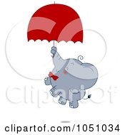 Royalty Free Vector Clip Art Illustration Of A Valentine Elephant Floating With An Umbrella