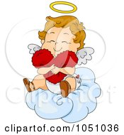 Royalty Free Vector Clip Art Illustration Of A Valentine Cupid Hugging A Heart On A Cloud by BNP Design Studio