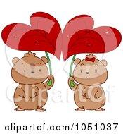 Hamster Couple Seeking Shelter Under Heart Leaves