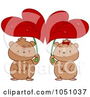 Royalty Free Vector Clip Art Illustration Of A Hamster Couple Seeking Shelter Under Heart Leaves by BNP Design Studio
