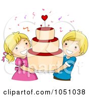 Royalty Free Vector Clip Art Illustration Of Kids Carrying A Big Valentine Cake