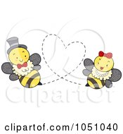 Royalty Free Vector Clip Art Illustration Of A Bee Couple Forming A Heart by BNP Design Studio