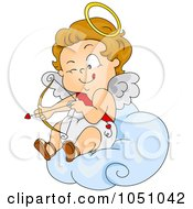 Royalty Free Vector Clip Art Illustration Of A Valentine Cupid Aiming On A Cloud by BNP Design Studio