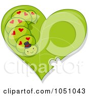 Royalty Free Vector Clip Art Illustration Of A Valentine Caterpillar On A Green Leaf