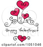 Royalty Free Vector Clip Art Illustration Of Happy Valentines With Swirls And Hearts