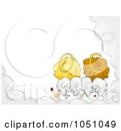 Royalty Free Vector Clip Art Illustration Of A Valentine Cupid Couple In A Cloud Frame 2 by BNP Design Studio