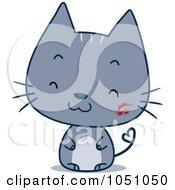 Royalty Free Vector Clip Art Illustration Of A Happy Cat With A Heart Tail And Lipstick Kiss