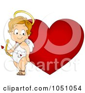 Royalty Free Vector Clip Art Illustration Of A Valentine Cupid Standing By A Heart by BNP Design Studio
