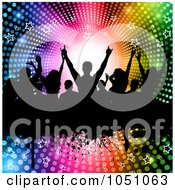 Royalty Free Vector Clip Art Illustration Of A Silhouetted Crowd Of Fans On A Grunge Bar Over A Halftone Starry Rainbow Vortex