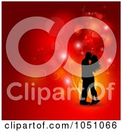 Royalty Free Vector Clip Art Illustration Of A Red Valentine Background With Vines Orbs And A Silhouetted Kissing Couple by KJ Pargeter