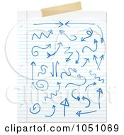 Sheet Of Ruled Paper With Blue Ink Doodles And Tape