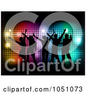 Royalty Free Vector Clip Art Illustration Of A Group Of Silhouetted Party People Dancing Over Colorful Halftone And Black
