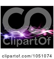 Royalty Free Vector Clip Art Illustration Of A Background Of Glowing Orbs Stars And Pinka Nd Purple Waves On Black