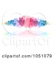 Royalty Free Vector Clip Art Illustration Of A Background Of Colorful Hearts With A Reflection On White