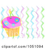 Birthday Cupcake And Colorful Zig Zags