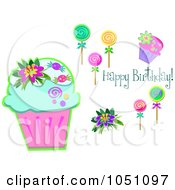 Digital Collage Of Birthday Cupcakes And Lolipops