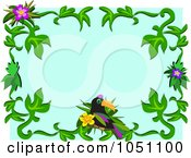 Floral Toucan Frame Over Blue