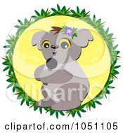 Karaoke Koala Over A Yellow Circle