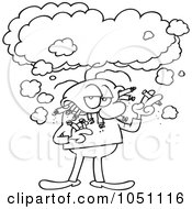 Royalty Free Vector Clip Art Illustration Of A Coloring Page Outline Of A Grouchy Chain Smoker by gnurf