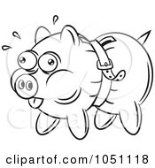 Royalty Free Vector Clip Art Illustration Of A Coloring Page Outline Of A Piggy Bank Being Squeezed By A Belt