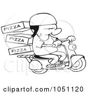 Royalty Free Vector Clip Art Illustration Of A Coloring Page Outline Of A Pizza Delivery Boy On A Scooter