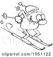 Royalty Free Vector Clip Art Illustration Of A Coloring Page Outline Of A Toon Guy Skiing by gnurf