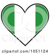 Royalty Free Vector Clip Art Illustration Of A Heart With Nigerian Flag Stripes by Maria Bell
