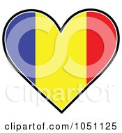 Heart With Romanian Flag Stripes