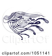Royalty Free Vector Clip Art Illustration Of A Decorative Dark Blue Wing by Cherie Reve