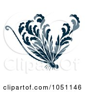 Royalty Free Vector Clip Art Illustration Of A Decorative Dark Blue Dragonfly by Cherie Reve #COLLC1051146-0099