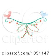 Royalty Free Vector Clip Art Illustration Of A Bird Pair With A Floral Vine by Cherie Reve