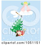 Royalty Free Vector Clip Art Illustration Of A Girl Flying Away With A Tree