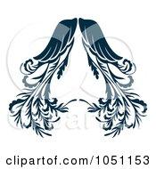 Royalty Free Vector Clip Art Illustration Of Ornate Dark Blue Angel Wings by Cherie Reve #COLLC1051153-0099