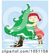 Royalty Free Vector Clip Art Illustration Of A Girl Hugging A Winter Tree