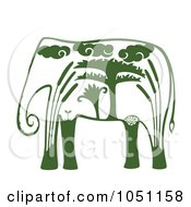 Royalty Free Vector Clip Art Illustration Of A Decorative Green Elephant by Cherie Reve