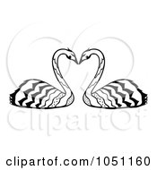 Royalty Free Vector Clip Art Illustration Of A Decorative Swan Pair by Cherie Reve