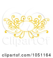 Royalty Free Vector Clip Art Illustration Of A Decorative Yellow Swirl Frame by Cherie Reve