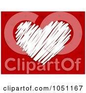 Royalty Free Vector Clip Art Illustration Of A White Heart Scribble Over Red
