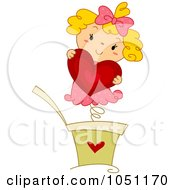 Royalty Free Vector Clip Art Illustration Of A Jack In The Box Girl Holding A Heart by BNP Design Studio