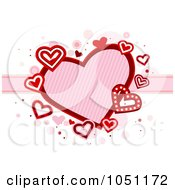 Royalty Free Vector Clip Art Illustration Of Hearts And A Ribbon With Bubbles On White